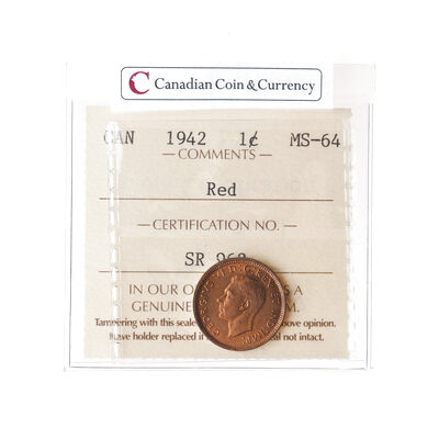 1 Cent 1942 Iccs Ms 64 Canadian Coins