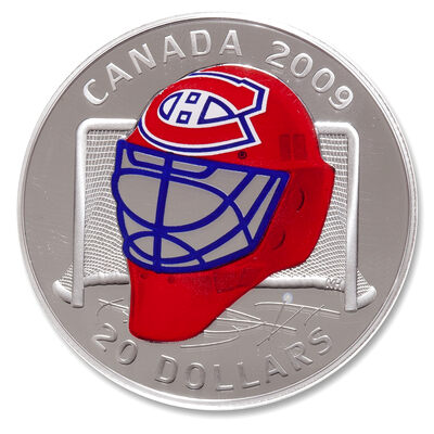 2009 20 Sterling Silver Coin Montreal Canadiens Goalie